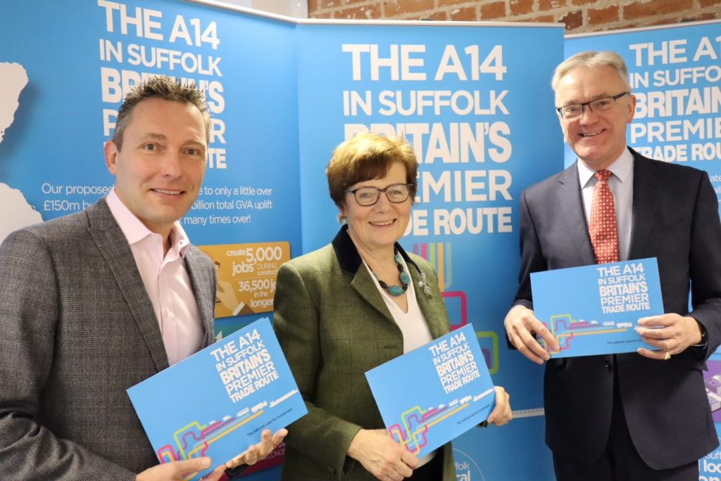 Photo showing (l2R) John Dugmore, chief executive of Suffolk Chamber of Commerce, Cllr Mary Evans, Suffolk County Council's cabinet member for highways transport and rural affairs and Mark Pendlington, chair A14 strategy board