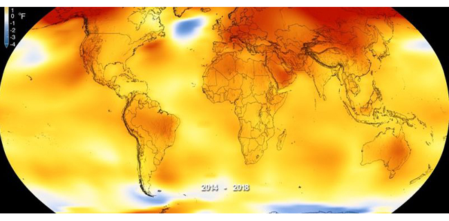 A nasa graphic showing the global temperature anomalies bewtween 2014 and 2018 - higher than the long term trend shown in red.