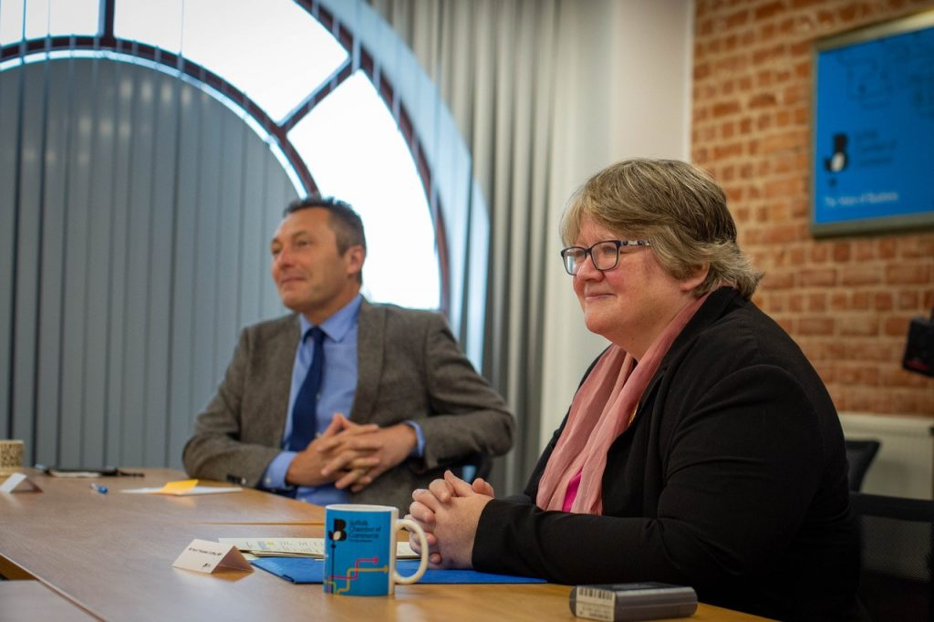 John Dugmore and Rt Hon Therese Coffey MP at yesterday's launch. Photo: Department for Work & Pensions