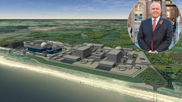 The proposed new power station Sizewell C and (insert) Terry Baxter, chief executive of Inspire Suffolk
