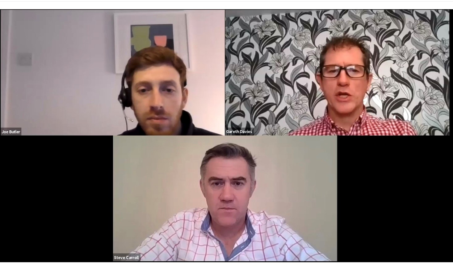 Clockwise from top left: Joe Butler, Gareth Davies and Steve Carroll answer questions during the Sizewell C New Year Webinars